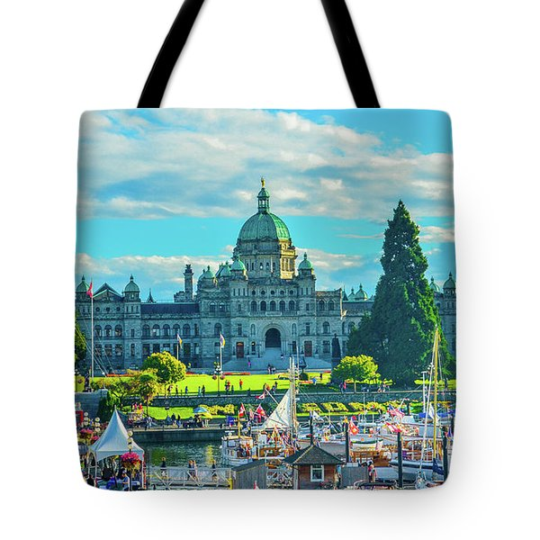 Victoria Bc Parliament Harbor Tote Bag