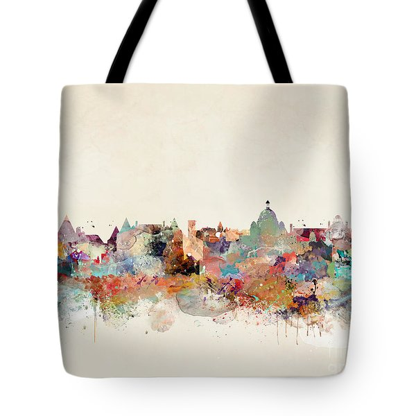Tote Bag featuring the painting Victoria Canada Skyline by Bri B
