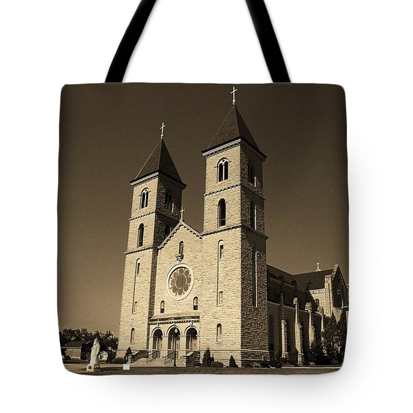 Tote Bag featuring the photograph Victoria, Kansas - Cathedral Of The Plains Sepia 6 by Frank Romeo