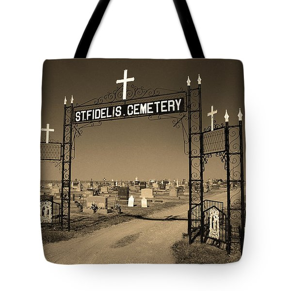 Tote Bag featuring the photograph Victoria, Kansas - St. Fidelis Cemetery Sepia by Frank Romeo
