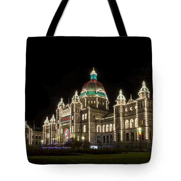 Victoria Parliament Buildings At Night At Christmas Tote Bag by Maria Janicki