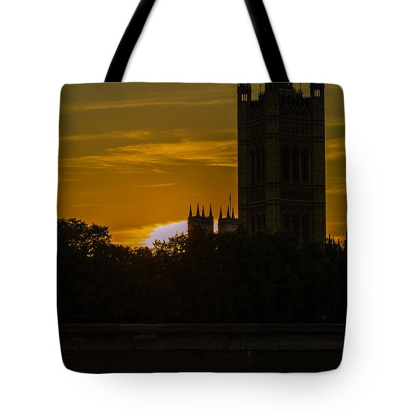 Victoria Tower In London Golden Hour Tote Bag