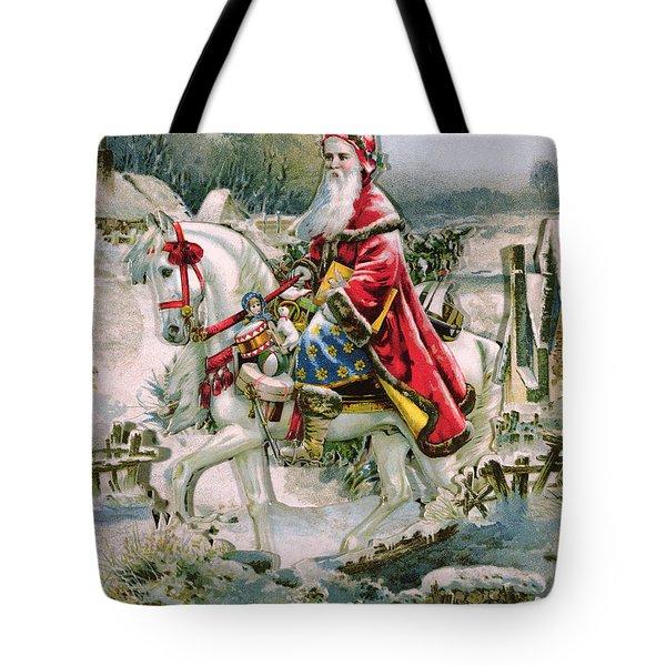 Victorian Christmas Card Depicting Saint Nicholas Tote Bag