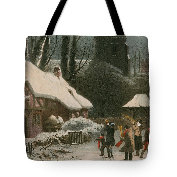 Victorian Christmas Scene With Band Playing In The Snow Tote Bag