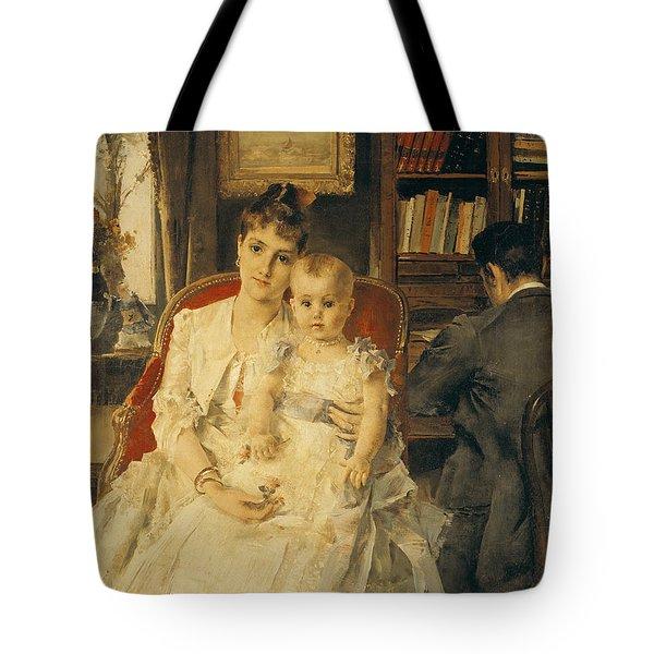 Victorian Family Scene Tote Bag by Alfred Emile Stevens