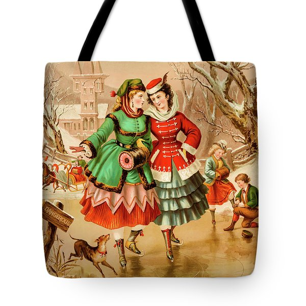 Tote Bag featuring the photograph Victorian Ice Skaters by David Letts