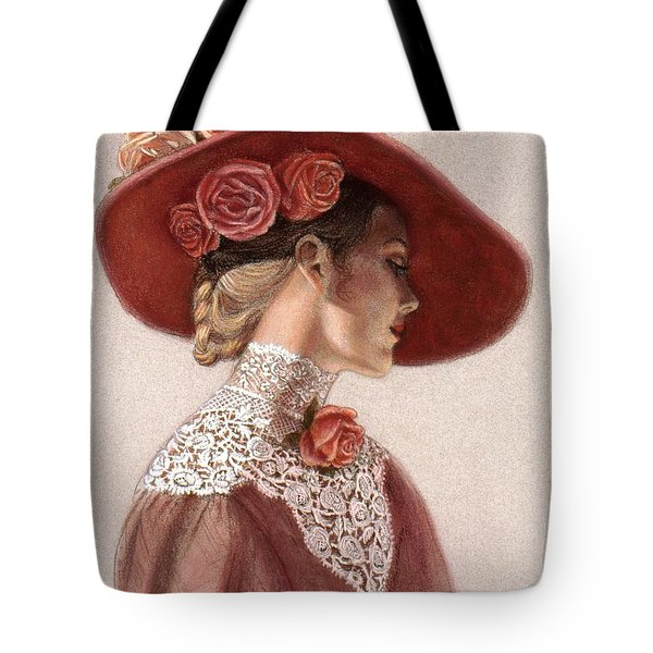 Tote Bag featuring the painting Victorian Lady In A Rose Hat by Sue Halstenberg