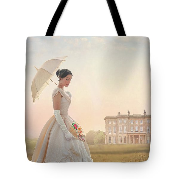 Victorian Woman With Parasol And Fan Tote Bag by Lee Avison