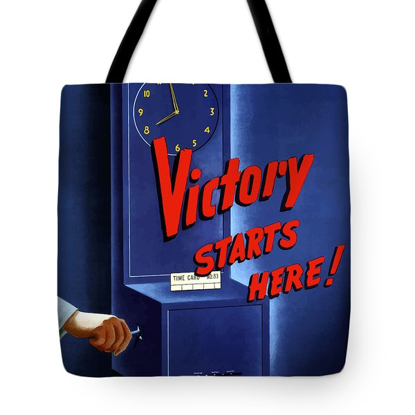 Victory Starts Here Tote Bag