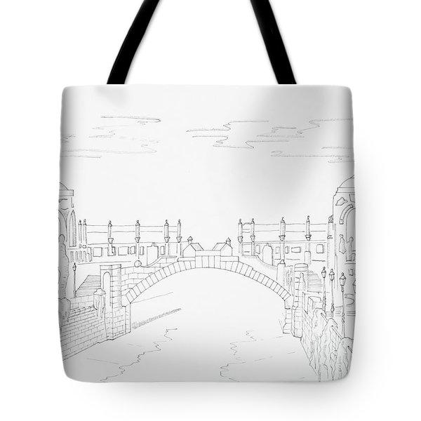 Vienna River Portal In Stadtpark, Vienna - Hand Drawing Tote Bag by Vlad Baciu