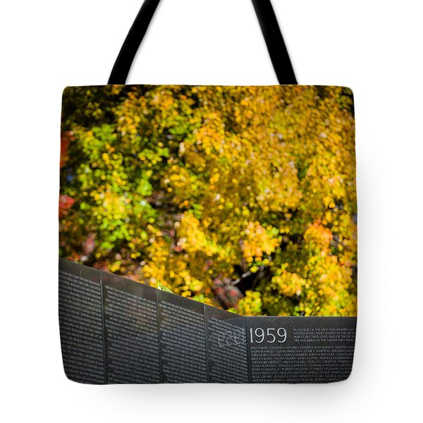 Tote Bag featuring the photograph Vietnam Wall Autumn by Ross Henton