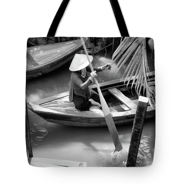 Vietnamese Woman Boat Ores Really For Tourist Mekong Delta  Tote Bag