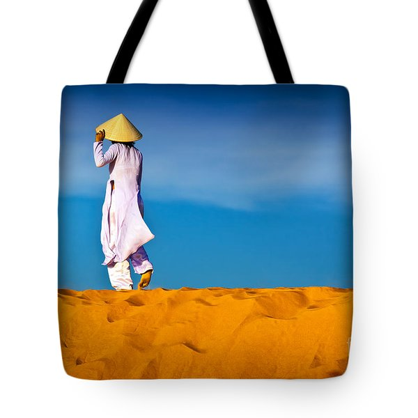 Vietnamese Woman In The Red Sand Dunes Mui Ne Vietnam Tote Bag