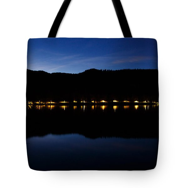 Tote Bag featuring the photograph View Across Lake Bled At Night by Ian Middleton