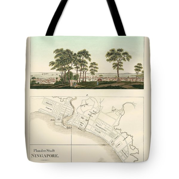 View And Map Of The East Indian Establishment Singapore  Tote Bag