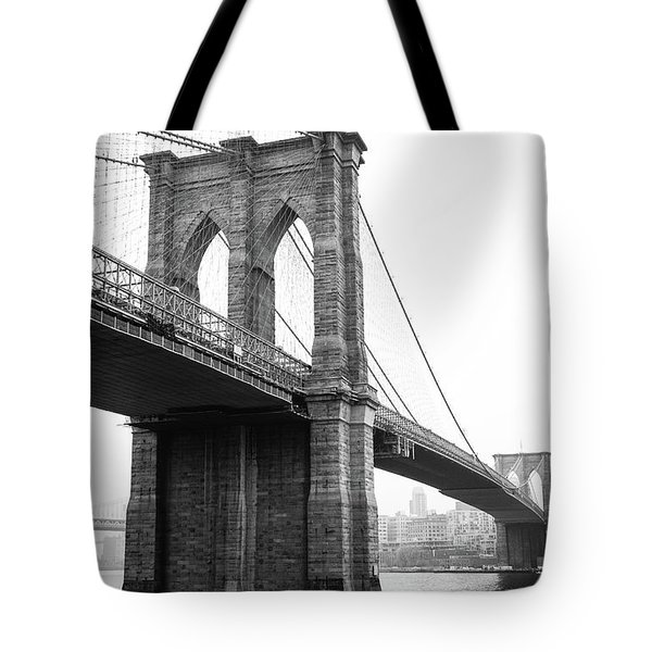 View Brooklyn Bridge With Foggy City In The Background Tote Bag