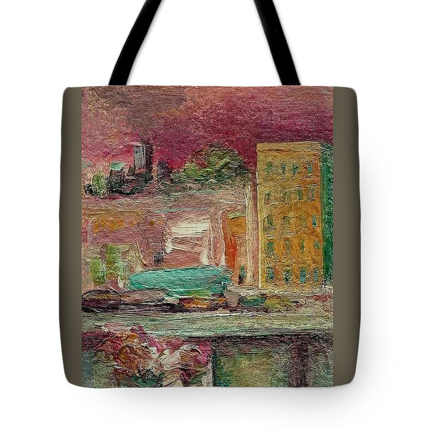 Tote Bag featuring the painting View From A Balcony by Mary Wolf