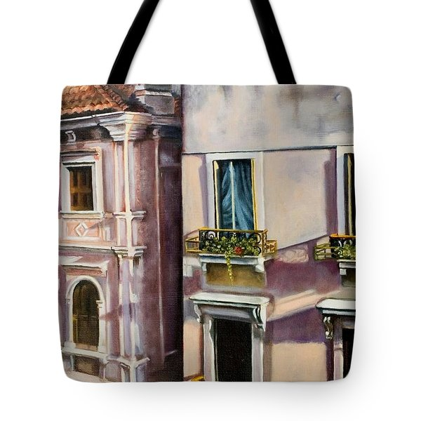 View From A Venetian Window Tote Bag by Marlene Book