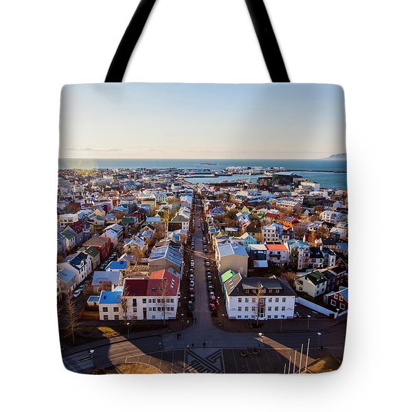View From Hallgrimskirka Tote Bag by Wade Courtney