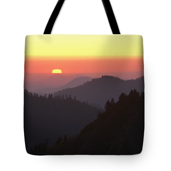 View From Moro Rock Of Sunset Sky Tote Bag