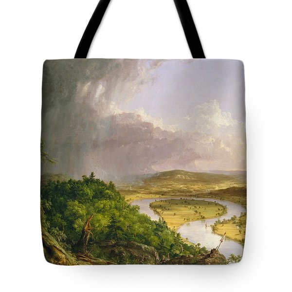 Tote Bag featuring the painting View From Mount Holyoke Northampton Massachusetts After A Thunderstorm. The Oxbow by Thomas Cole