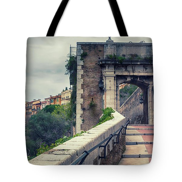 Tote Bag featuring the photograph view from St Mary's Tower,  Monaco by Ariadna De Raadt