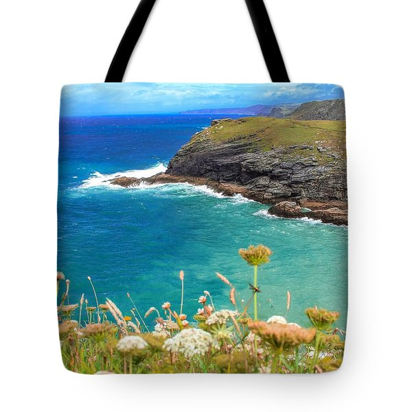 View From The Cliffs At Tintagel  Tote Bag