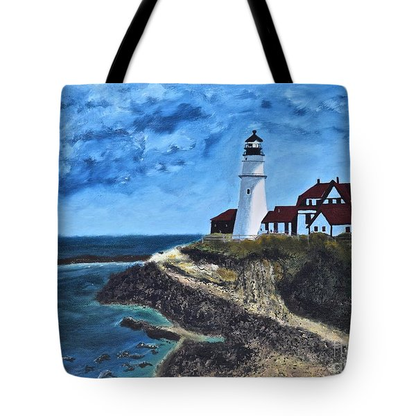 View From The North Portland Head Light Tote Bag