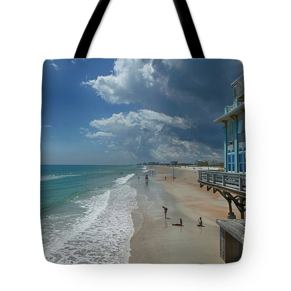 View From The Pier Tote Bag by Judy Hall-Folde