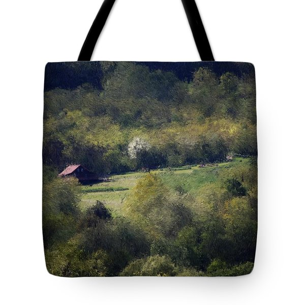 View From The Pond At The Hacienda Tote Bag by David Lane