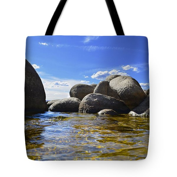 Tote Bag featuring the photograph View From The Water Of Lake Tahoe by Alex King