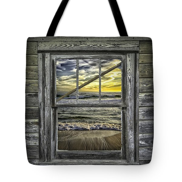 View From Weathered Beach Cottage Tote Bag