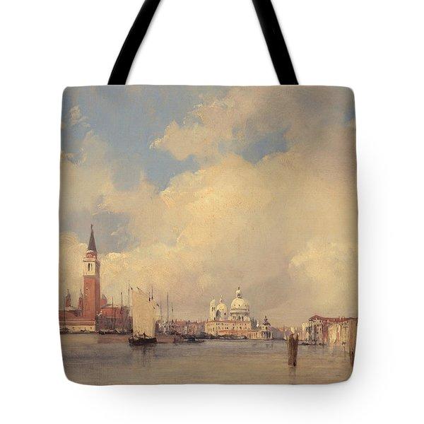 View In Venice With San Giorgio Maggiore Tote Bag by Richard Parkes Bonington