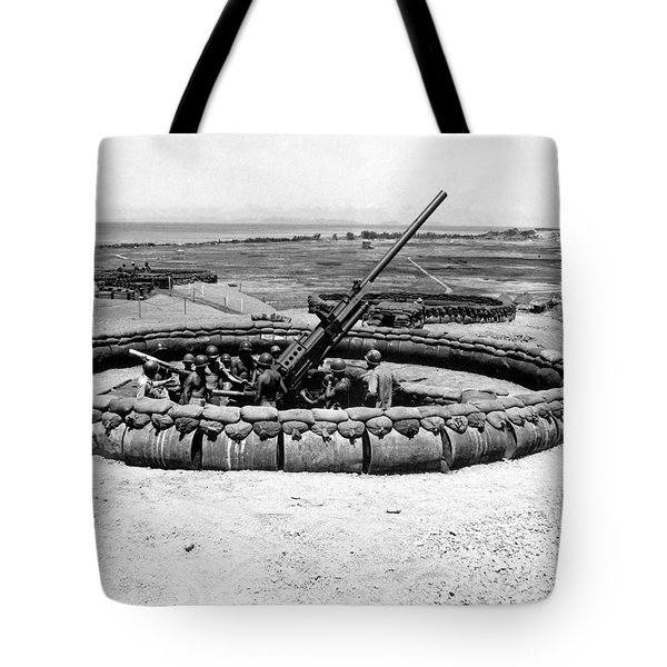 View Of A 90mm Aaa Gun Emplacement Tote Bag by Stocktrek Images
