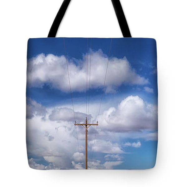 View Of A Phone Pole Tote Bag by Gary Warnimont