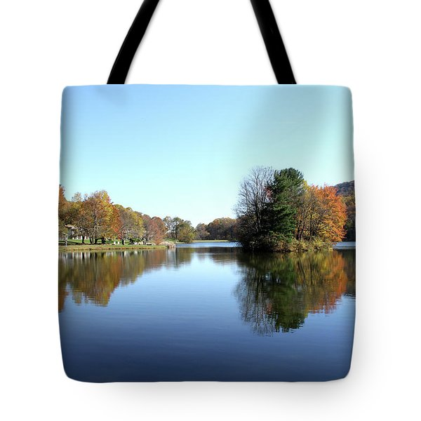 View Of Abbott Lake With Trees On Island, In Autumn Tote Bag