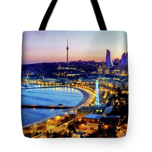 Tote Bag featuring the photograph View Of Baku by Fabrizio Troiani
