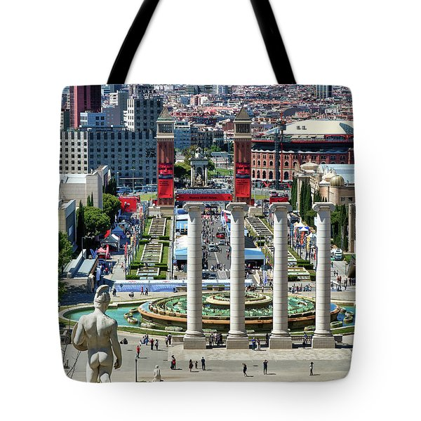 Tote Bag featuring the photograph View Of Barcelona From Montjuic by Eduardo Jose Accorinti