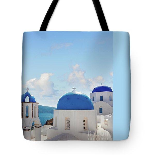 Caldera  Of Santorini Tote Bag by Anastasy Yarmolovich