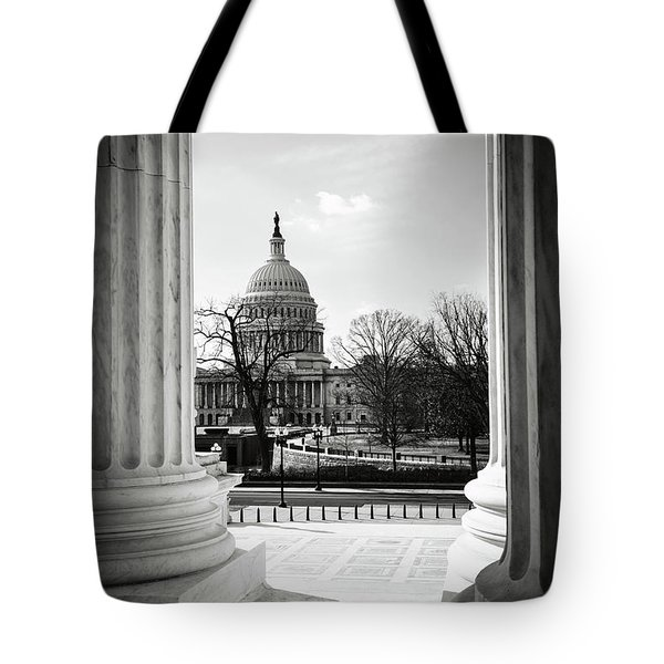 View Of Capitol Hill Through The Supreme Court Tote Bag