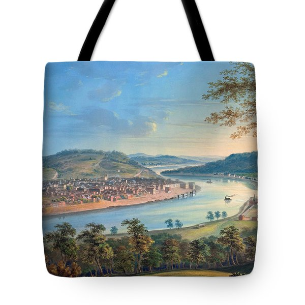 Tote Bag featuring the painting View Of Cincinnati From Covington by John Caspar Wild