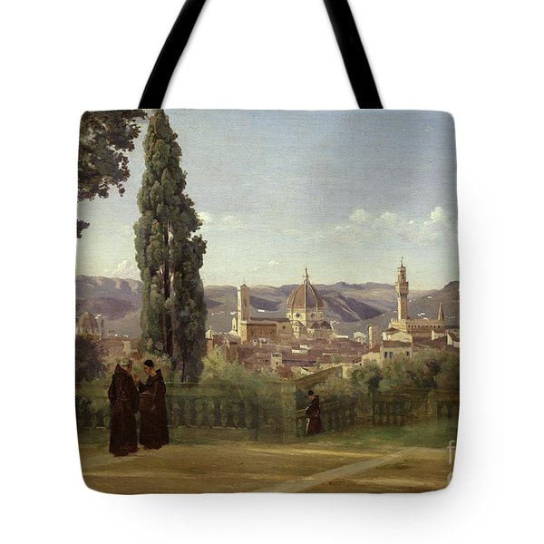 View Of Florence From The Boboli Gardens Tote Bag by Jean Baptiste Camille Corot