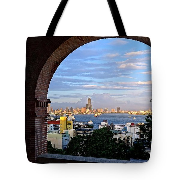 Tote Bag featuring the photograph View Of Kaohsiung City At Sunset Time by Yali Shi