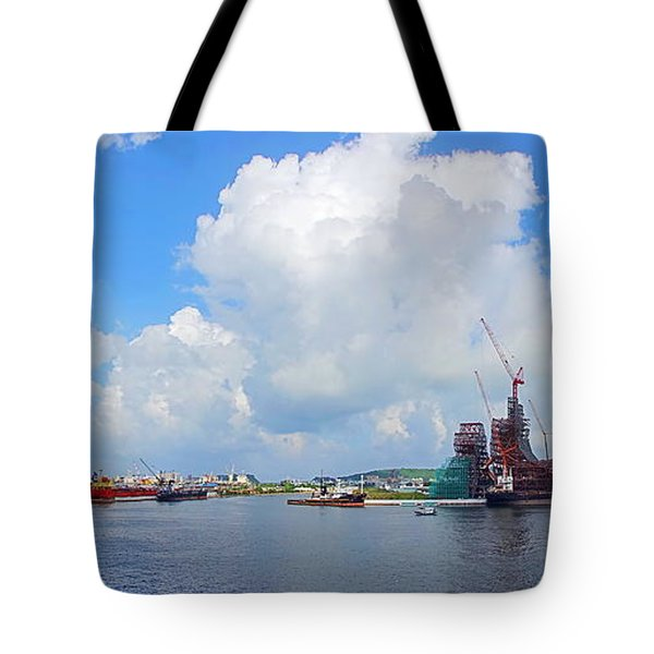 Tote Bag featuring the photograph View Of Kaohsiung Port And Bay by Yali Shi