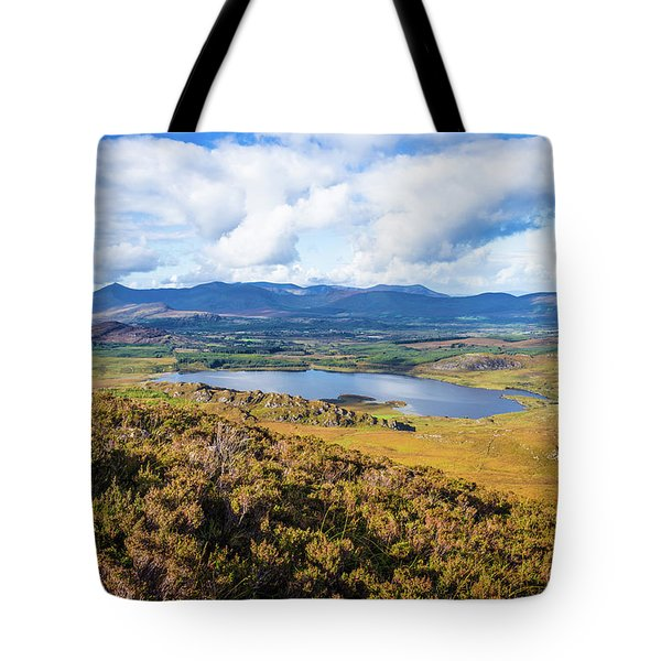 Tote Bag featuring the photograph View Of Lough Acoose In Ballycullane From The Foothill Of Macgil by Semmick Photo