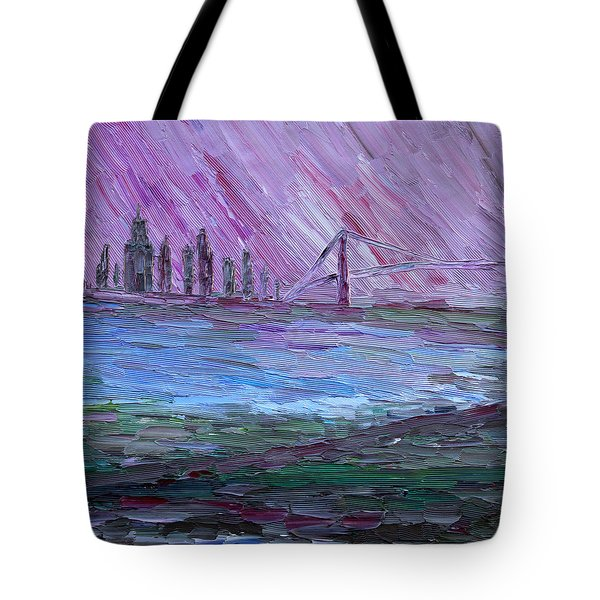 Tote Bag featuring the painting View On Manhattan by Vadim Levin
