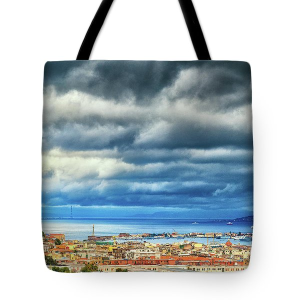 Tote Bag featuring the photograph View Of Messina Strait Sicily With Dramatic Sky by Silvia Ganora