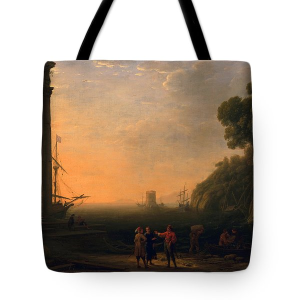 View Of Seaport Tote Bag by Claude Lorrain