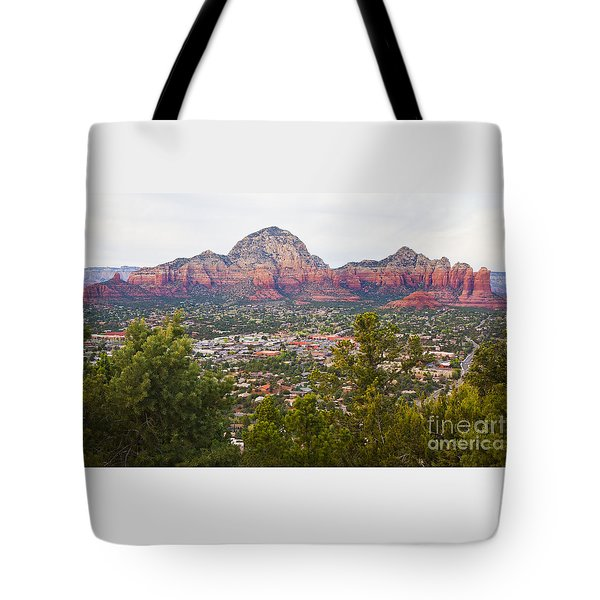 Tote Bag featuring the photograph View Of Sedona From The Airport Mesa by Chris Dutton