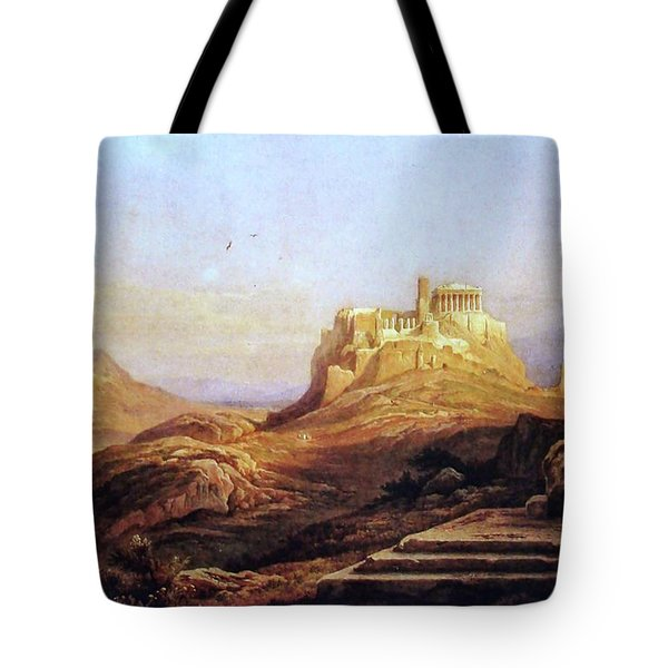 View Of The Acropolis From The Pynx Tote Bag by Rudolph Muller